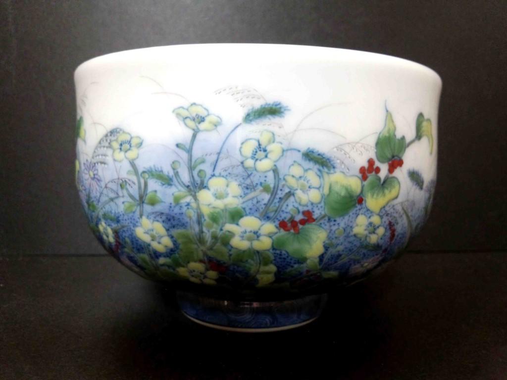 野の花図茶碗