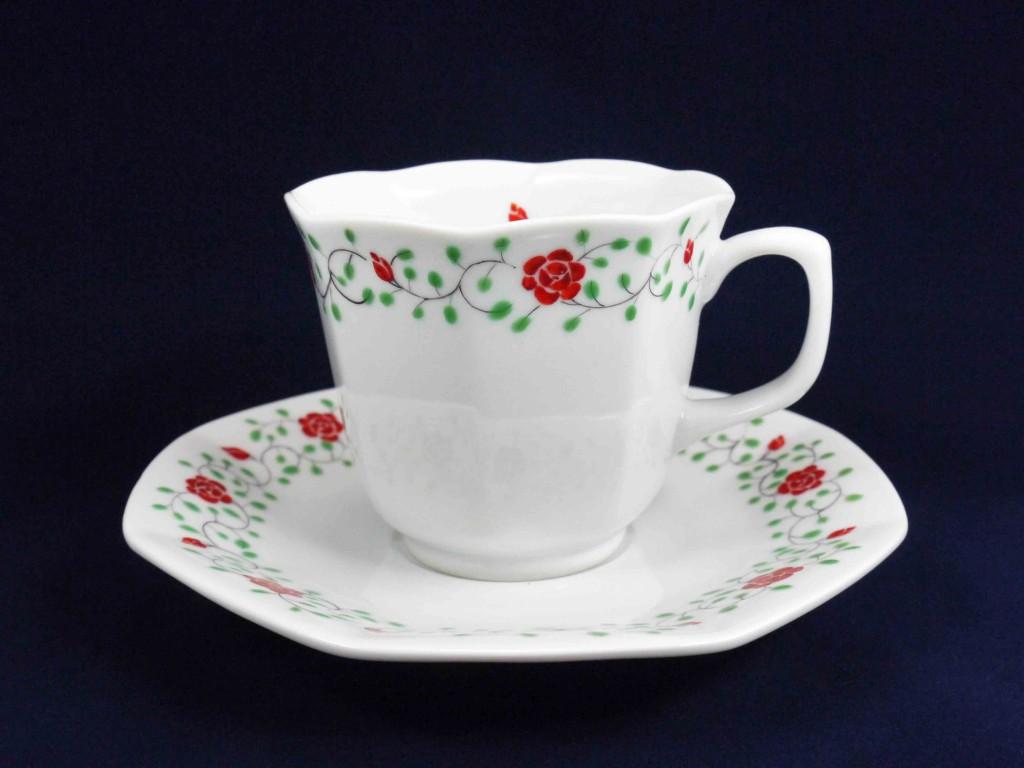薔薇絵碗皿
