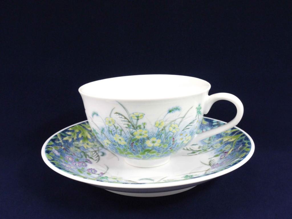 野の花図碗皿