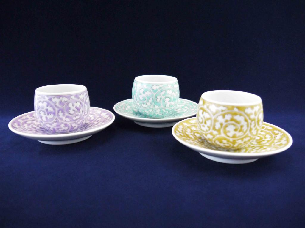 錦唐草紋碗と皿