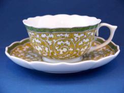 黄彩唐草紋碗皿(木瓜型)