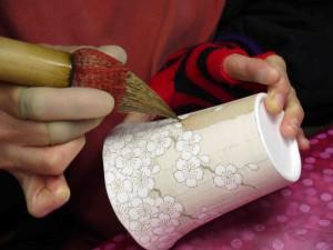 夜桜図マグカップ濃み